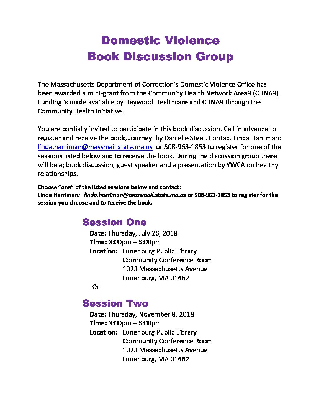 Domestic Violence Book Discussion Group Session One